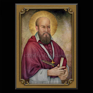 St. Francis de Sales Plaque & Holy Card Gift Set