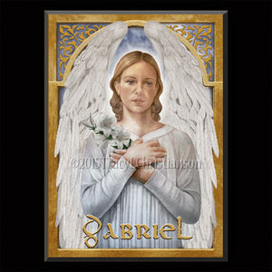 St. Gabriel the Archangel Plaque & Holy Card Gift Set