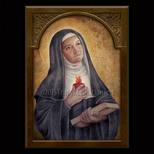 St. Gertrude the Great Plaque & Holy Card Gift Set