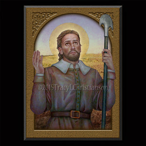 St. Isidore the Farmer Plaque & Holy Card Gift Set