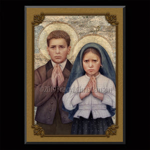 St. Jacinta and St. Francisco Marto Plaque & Holy Card Gift Set