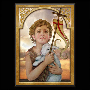 St. John the Baptist (Child) Plaque & Holy Card Gift Set