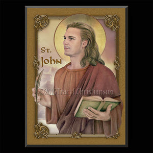 St. John the Evangelist Plaque & Holy Card Gift Set