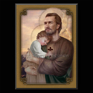 St. Joseph and Baby Jesus Plaque & Holy Card Gift Set