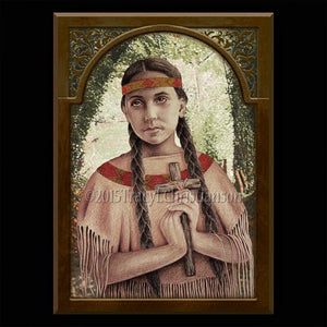 St. Kateri Tekakwitha Plaque & Holy Card Gift Set