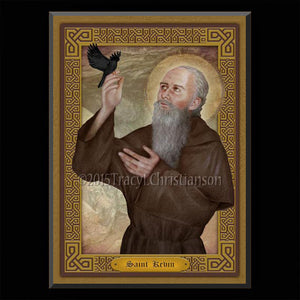 St. Kevin of Glendalough Plaque & Holy Card Gift Set