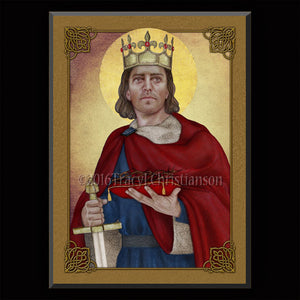 St. Louis IX, King of France Plaque & Holy Card Gift Set