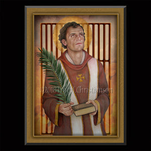 St. Lawrence of Rome Plaque & Holy Card Gift Set