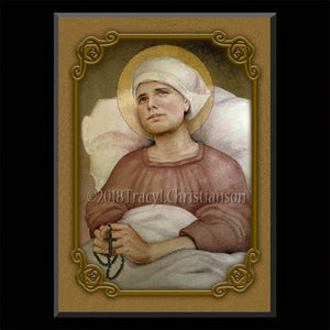 St. Lidwina of Schiedam Plaque & Holy Card Gift Set