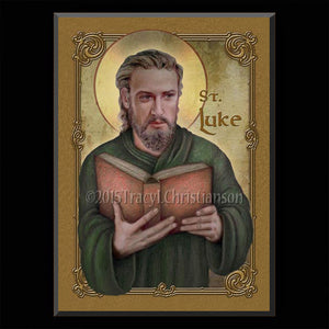 St. Luke the Evangelist Plaque & Holy Card Gift Set