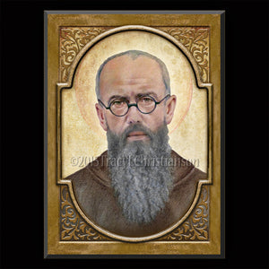 St. Maximilian Kolbe Plaque & Holy Card Gift Set