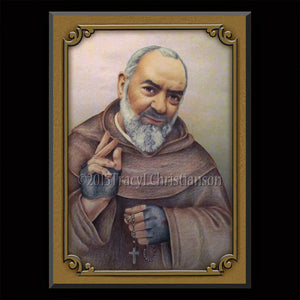 St. Padre Pio (B) Plaque & Holy Card Gift Set