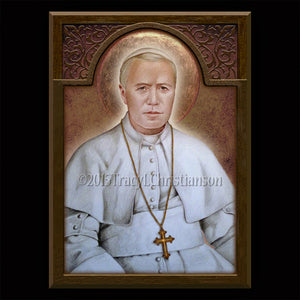 Pope St. Pius X Plaque & Holy Card Gift Set