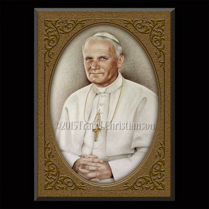 Pope St. John Paul II Plaque & Holy Card Gift Set