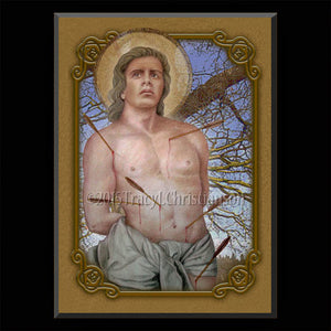St. Sebastian Plaque & Holy Card Gift Set