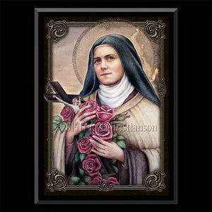 St. Therese of Lisieux (C) Plaque & Holy Card Gift Set