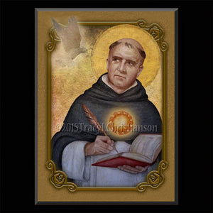 St. Thomas Aquinas Plaque & Holy Card Gift Set