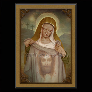 St. Veronica Plaque & Holy Card Gift Set