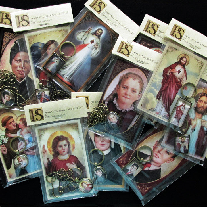 St. Therese of Lisieux, the Little Flower Pendant & Holy Card Gift Set