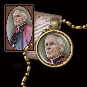 Venerable Bishop Fulton Sheen Pendant & Holy Card Gift Set