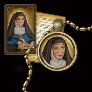 Venerable Mary of Agreda Pendant & Holy Card Gift Set