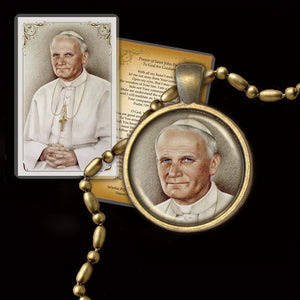 St. Pope John Paul II Pendant & Holy Card Gift Set