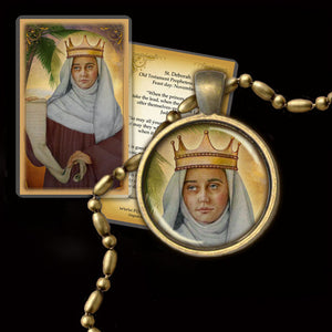 St. Deborah the Prophetess Pendant & Holy Card Gift Set