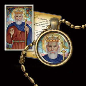 St. Edward the Confessor Pendant & Holy Card Gift Set