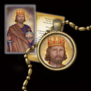 St. Henry II, Holy Roman Emperor Pendant & Holy Card Gift Set