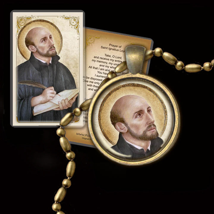 St. Ignatius of Loyola Pendant & Holy Card Gift Set