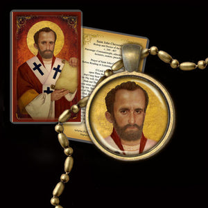 St. John Chrysostom Pendant & Holy Card Gift Set
