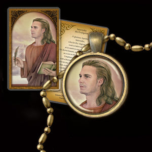 St. John the Evangelist Pendant & Holy Card Gift Set