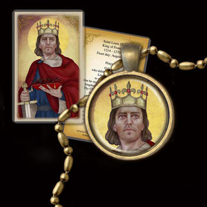 St. Louis IX, King of France Pendant & Holy Card Gift Set