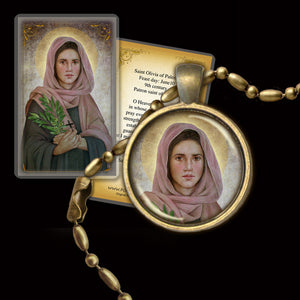 St. Olivia Pendant & Holy Card Gift Set