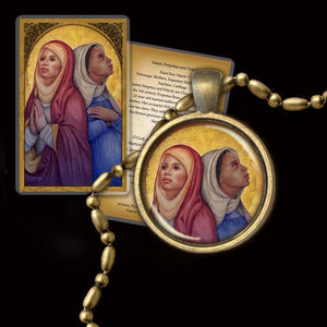 St. Perpetua and St. Felicity Pendant & Holy Card Gift Set