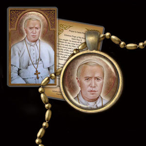Pope St. Pius X Pendant & Holy Card Gift Set