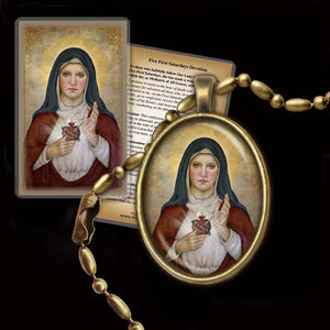 Immaculate Heart of Mary (B) Pendant & Holy Card Gift Set