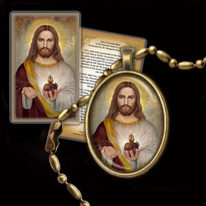 Sacred Heart of Jesus (A) Pendant & Holy Card Gift Set