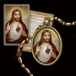 Sacred Heart of Jesus (B) Pendant & Holy Card Gift Set