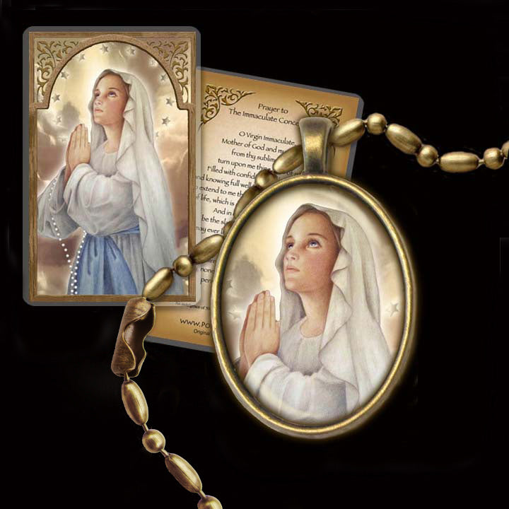 Immaculate Conception Pendant & Holy Card Gift Set