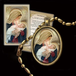 Madonna & Child (F) Pendant & Holy Card Gift Set