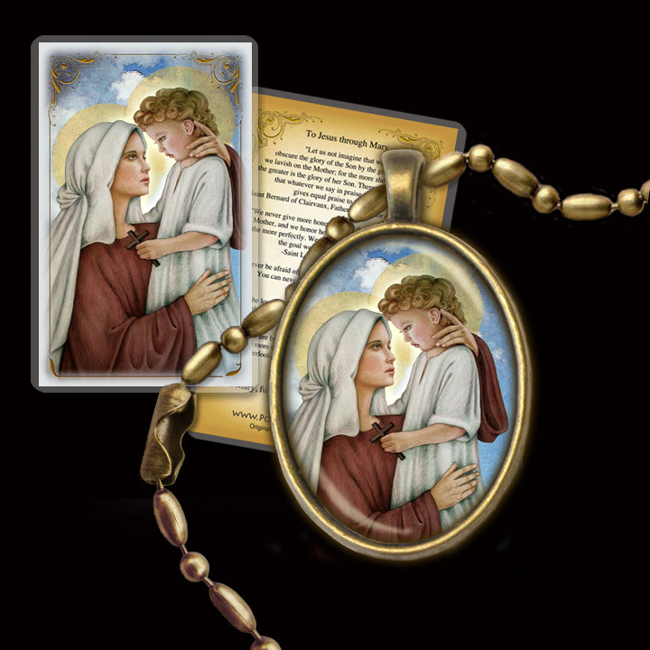 Madonna and Child (N) Pendant & Holy Card Gift Set