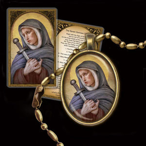 Our Lady of Sorrows  Pendant & Holy Card Gift Set