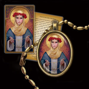Our Lady of the Rosary Pendant & Holy Card Gift Set