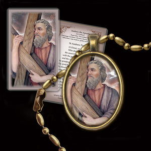 St. Andrew the Apostle Pendant & Holy Card Gift Set