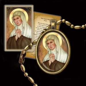 St. Angela Merici Pendant & Holy Card Gift Set