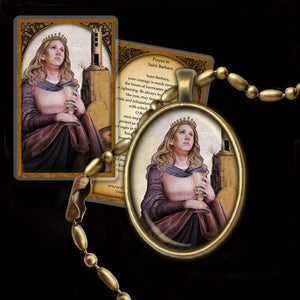 St. Barbara Pendant & Holy Card Gift Set