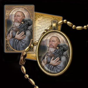 St. Benedict of Nursia Pendant & Holy Card Gift Set