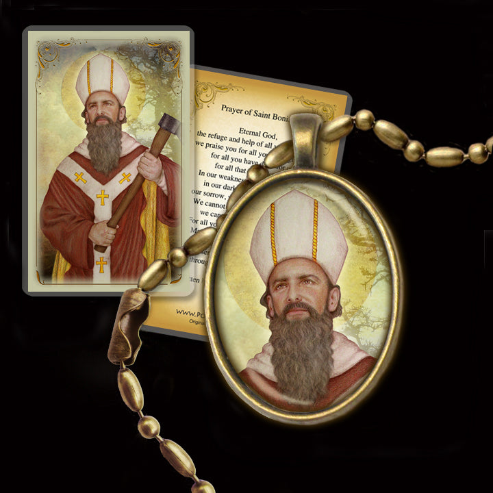 St. Boniface Pendant & Holy Card Gift Set