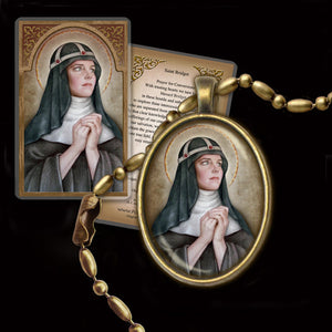 St. Bridget of Sweden Pendant & Holy Card Gift Set